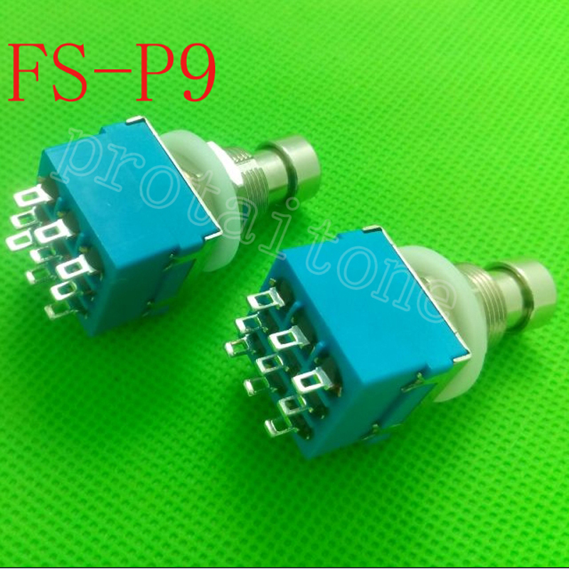 50 st / Lot 9-pin 3PDT gitarr effekter Pedal Box Stomp Foot Metal Switch True Bypass gratis frakt