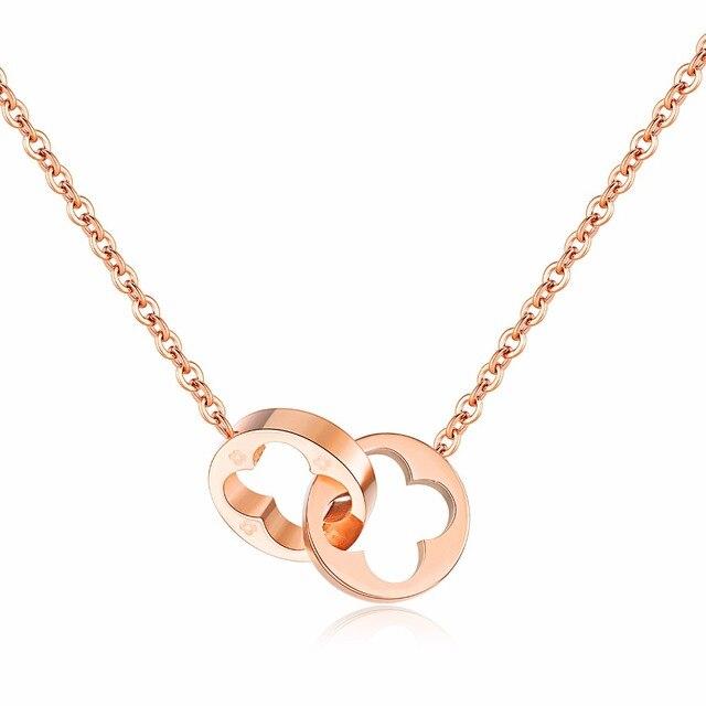 Moda Lucky Grass Rose oro color collar doble bucle hebilla fase ...