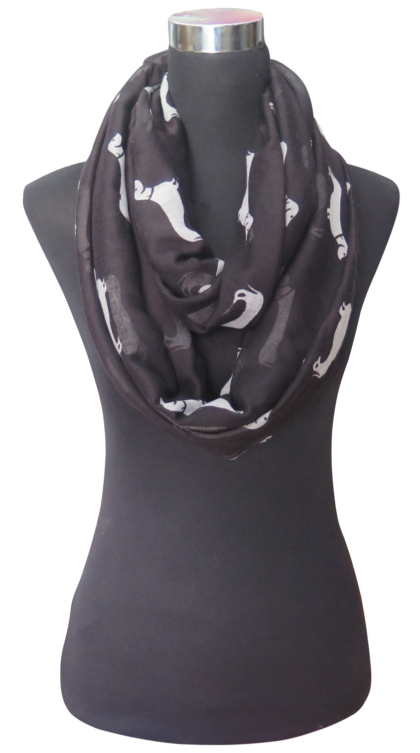 10pcs lot Dachshund Doxie Dog Animal Print Women s Infinity Loop Scarf Snood Accessories