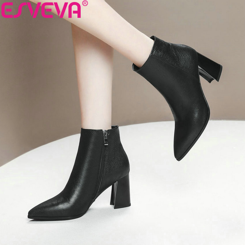 ESVEVA 2019 Woman Boots Zip Square High Heels Shoes Winter Boots Women Cow Leather Ankle Boots Chelsea Shoes Pointed Toe 34-43 enmayla autumn winter chelsea ankle boots for women faux suede square toe high heels shoes woman chunky heels boots khaki black