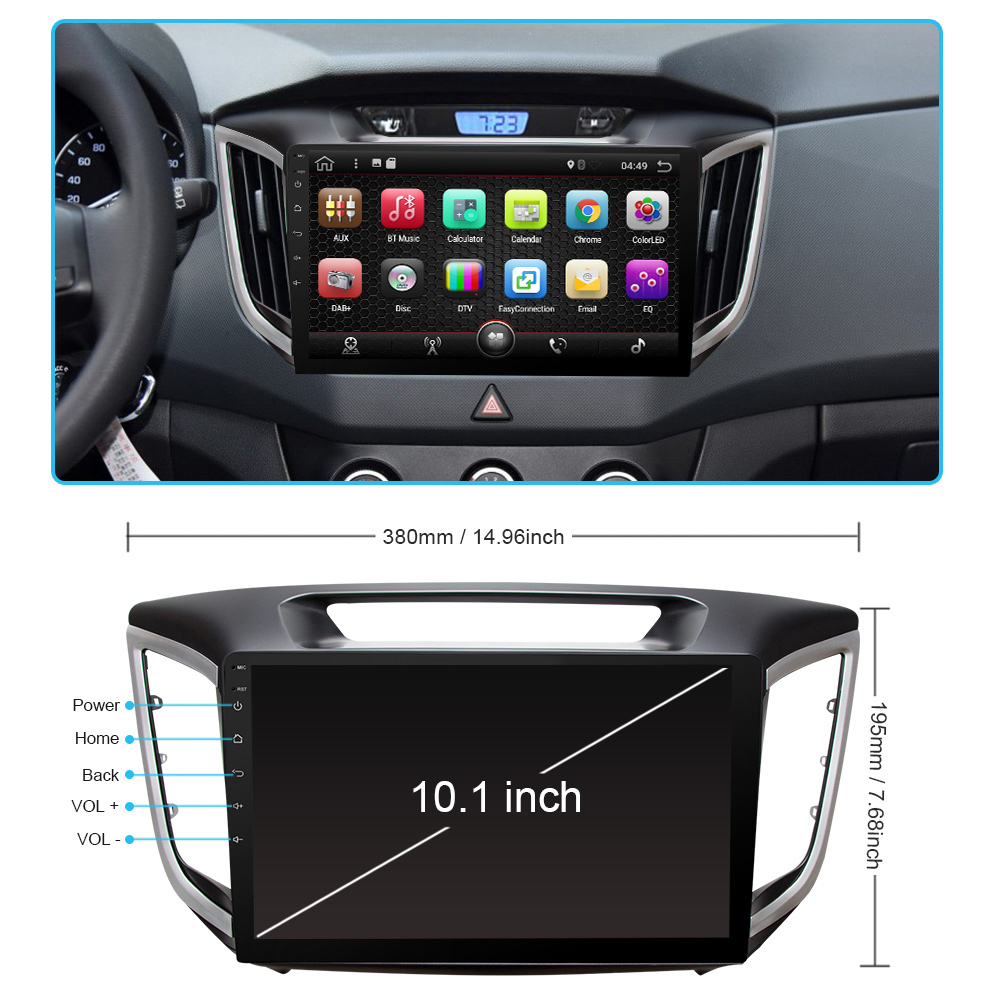 Eunavi android 7.1 8.1 voiture dvd gps lecteur Pour multimédia ix25 hyundai creta navigation raido vidéo audio lecteur 2 din