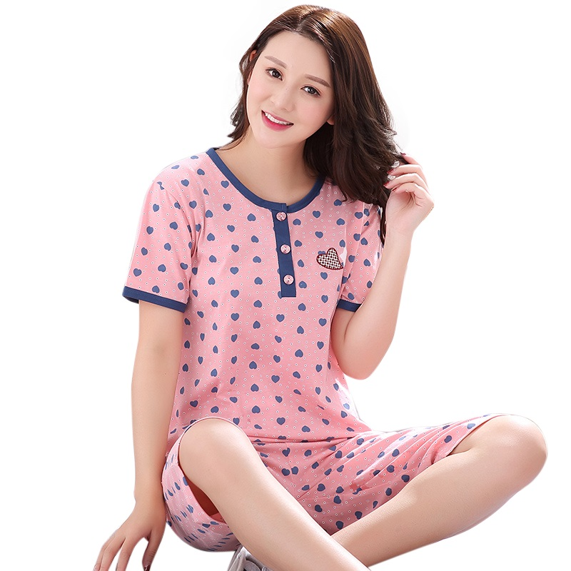 Women Gift Leisure Clothes Newest 2017 Summer Short Sleeved Women Pajamas Carton Pyjamas Lovely Sleepwear Women Nightwear