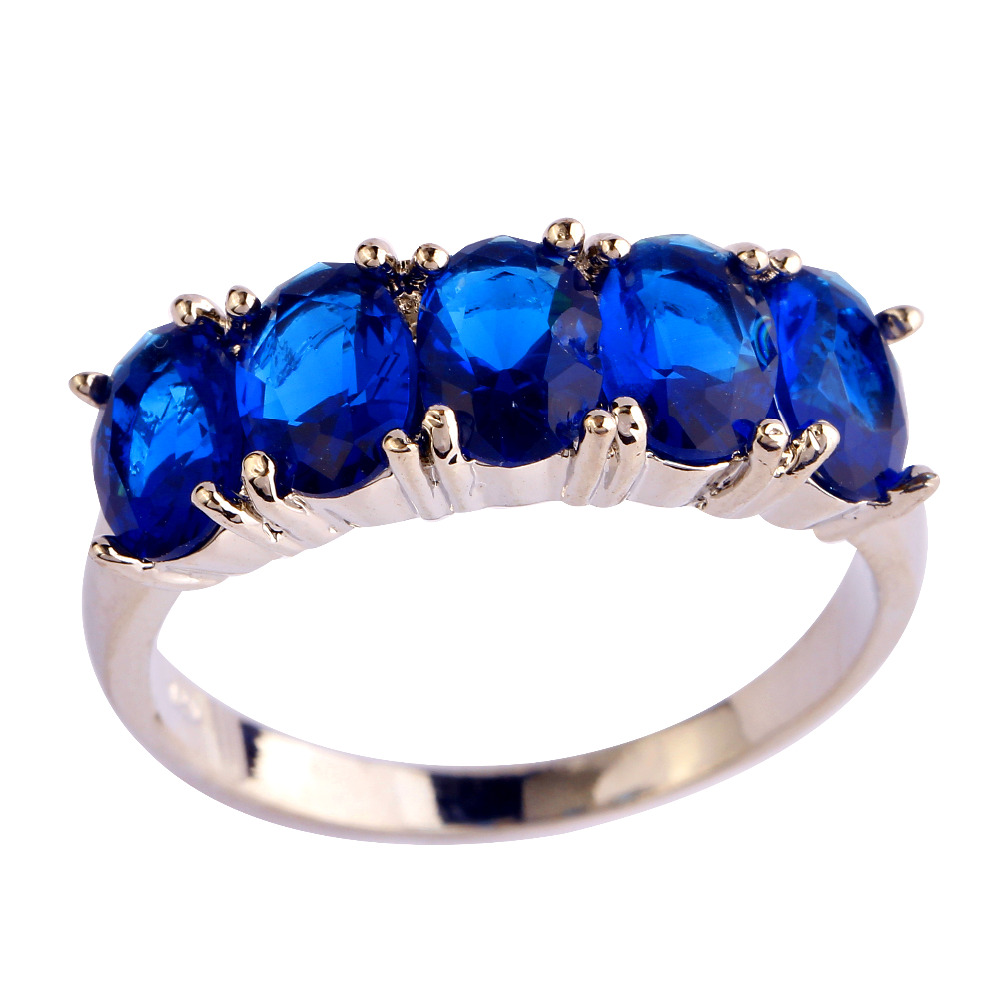 Fashion Jewelry Oval Gems Blue CZ Silver Plated Ring Size 6 7 8 9 10 Women Man Free Shipping Wholesale