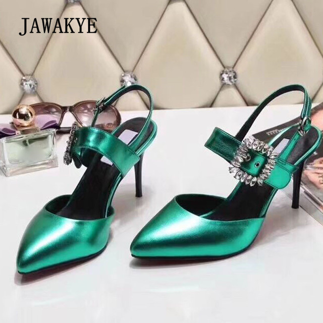 2018 Sexy Rhinestone Buckle High Heel Shoes Woman Pointed Toe Black Green  Real Leather Ankle Strappy Gladiator Sandals f9deae4d99d8
