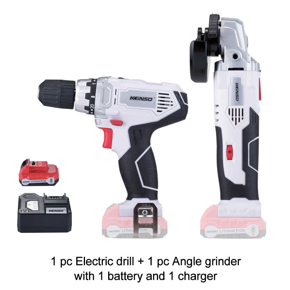 2 Piece KEINSO 12 Volt Lithium Ion Cordless Power Tool Combo Kit Angle grinder Drill Combination
