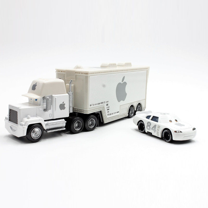 Disney Pixar Cars 2pcs/Lot Apple Mack Uncle Truck And 84 Apple Small Car  Diecast 1:55 Scale Metal Toys Car For Children Gift