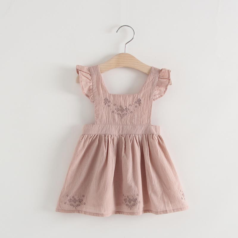 05a91f717 5 Size Coffee Color Baby Girls Dress Embroidered Ruffle Sleeveless ...