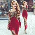 Autumn winter women red bohemia print long sleeve slim hip placketing knitting sweater long maxi dress AW201