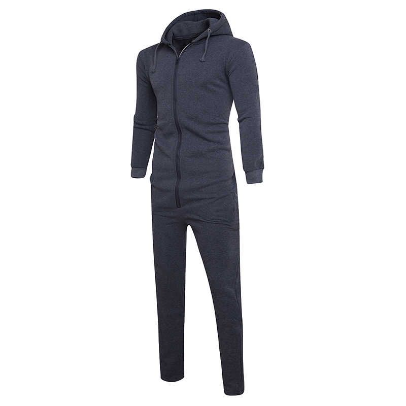 0753c8ef8a1 Winter Male Hip Hop Hooded Jumpsuit Pants Autumn Gothic mens rompers Front  Zipper Mens Harem Cargo