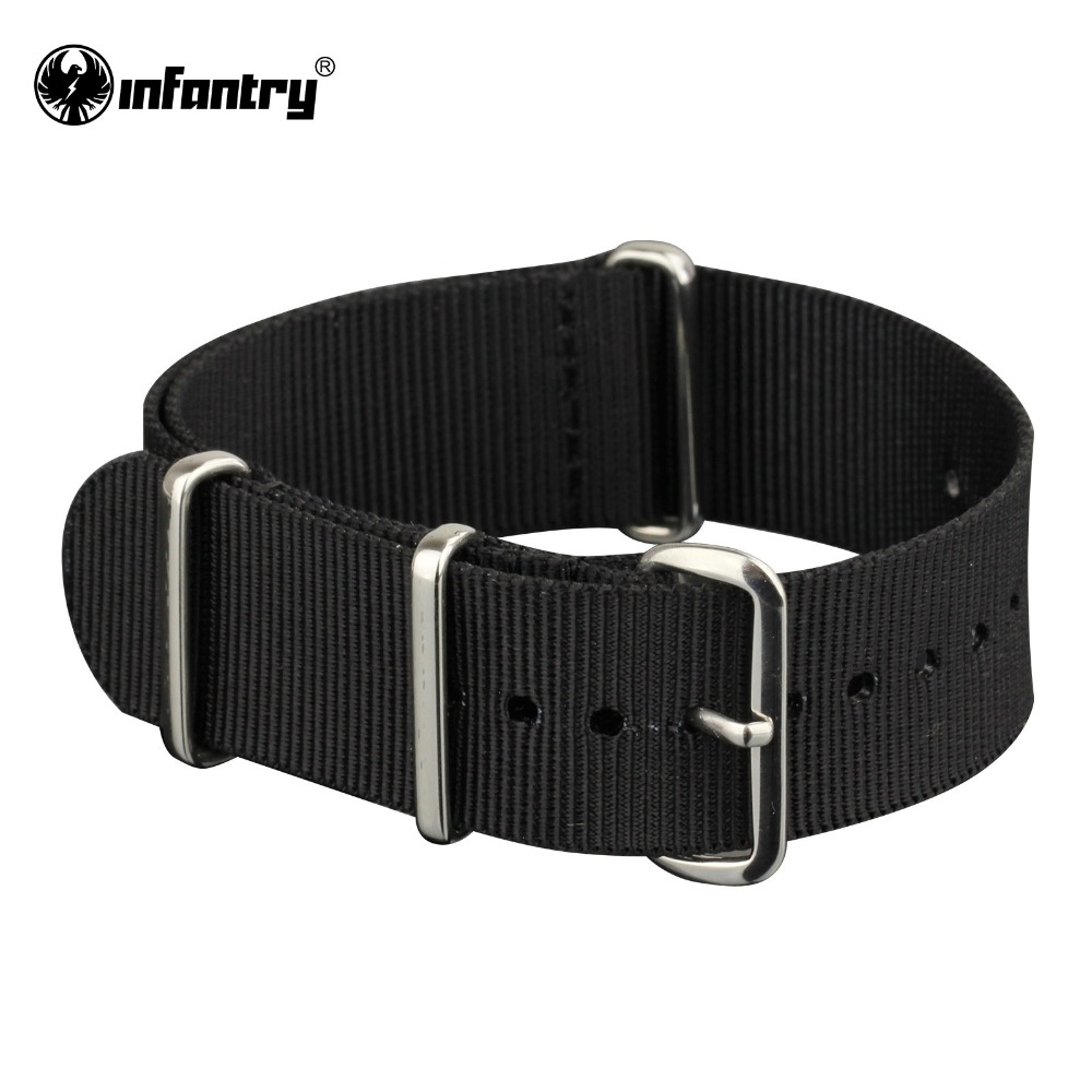 цены Infantry Sport Army Bracelets G10 Black 22mm Watch Straps Nylon Canvas Band 4 Silver Rings NEW Heavy Duty Watchbands for Men