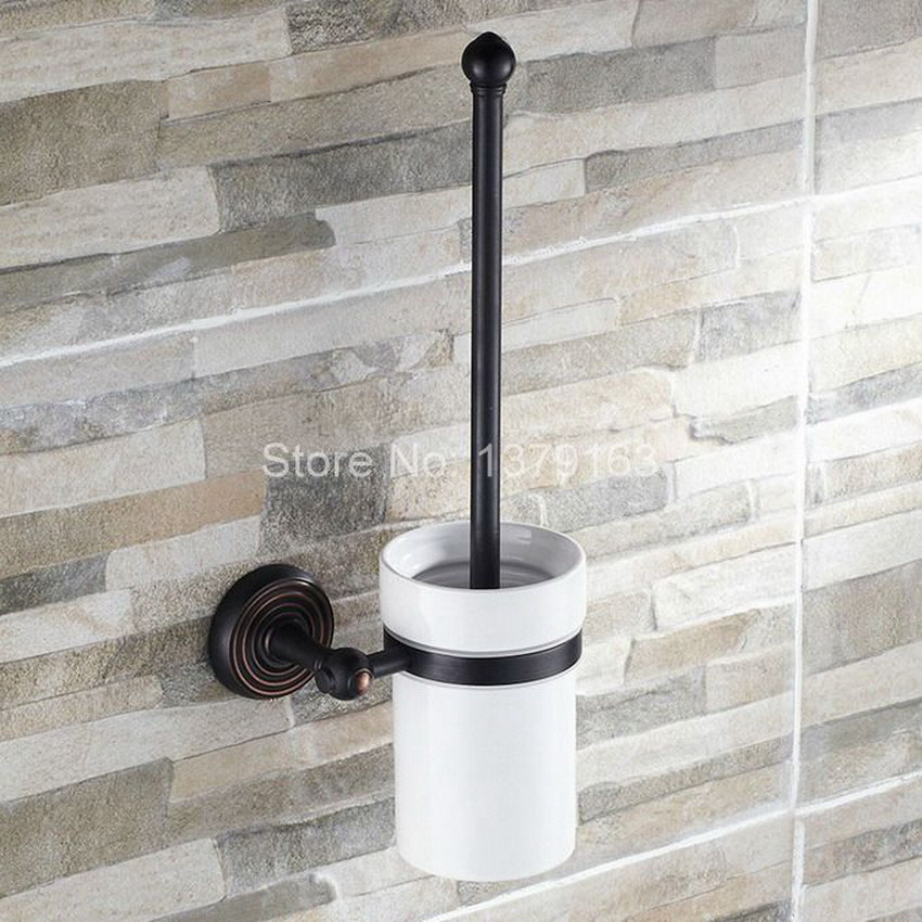 Black Oil Rubbed Bronze Wall Mounted Toilet Brush & Holder Set White Brush Ceramic Cup Bathroom Accessory aba119 flg5618 cup and tumbler holders wall mounted oil rubbed bronze ceramic tooth brush holder