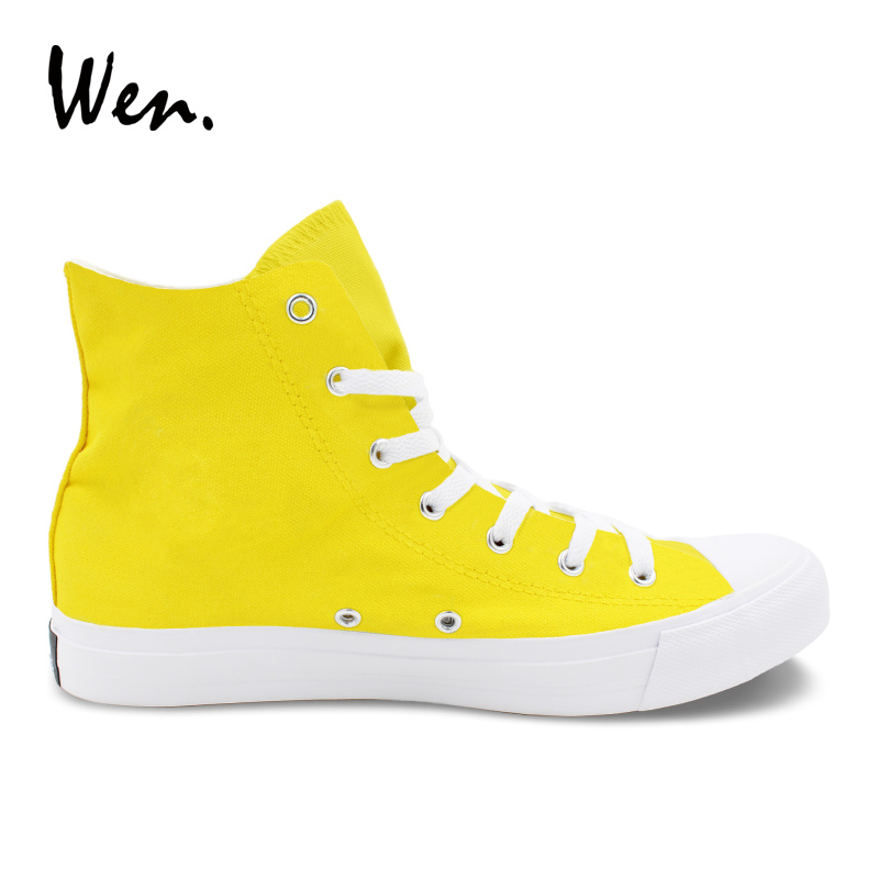 Wen Hand Painted High Top Sneakers Yellow Design Custom Poker Joker Canvas Shoes Womens Athletic Skateboarding Shoes Mens