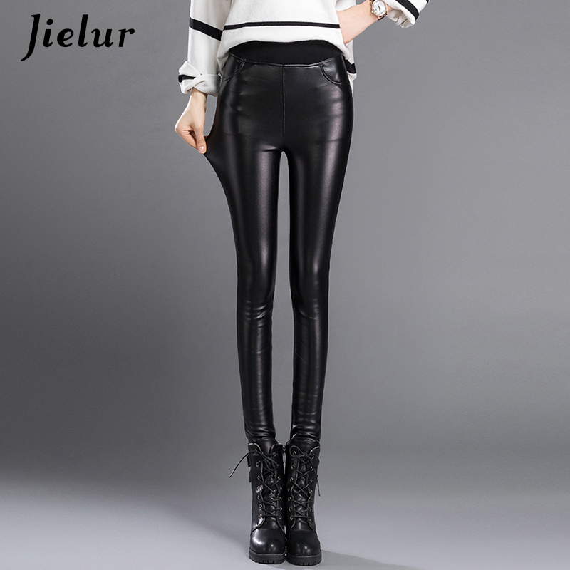 Jielur 2019 Autumn Solid Color Korean Women's   Pants   Stretch Female PU Leather   Pants     Capris   Trousers Plus Size Pencil   Pants   S-3XL
