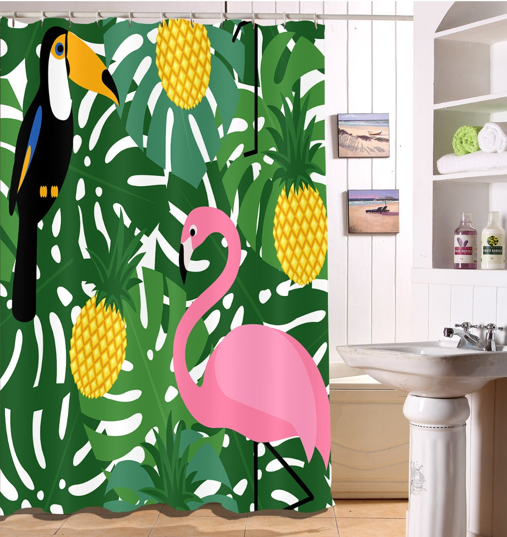 Us 14 39 46 Off Tropical Leaves Flamingo Pineapple Shower Curtain Waterproof Polyester Fabric Curtain For Bathroom Decor Eco Friendly Hooks Set In