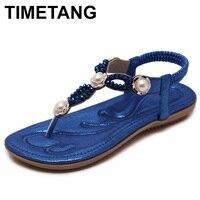 TIMETANG 2018 Women Flats Sandals Bohemian Ethnic String Bead Pearl Flip Flops Crystal Beach Summer Comfort