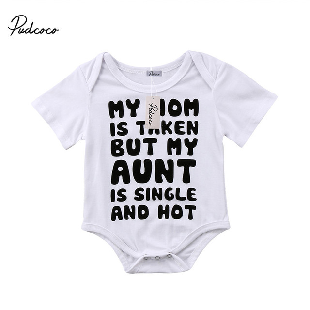 d2259b2e943c 0 to 18M Newborn Baby Girls Boys Clothes MY AUNT Short Sleeve Romper  Jumpsuit Clothing Outfits