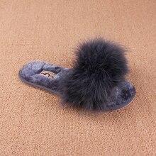 Chaud semelle doux de couleur de sucrerie d'été femmes naturel autruche cheveux pantoufles mules femmes sandales à bout ouvert plat chaussures