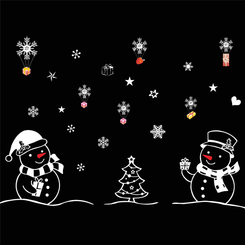 Christmas Tree Snowman Christmas New Year Shop Window Wall Sticker Christmas Decorations Festival Home Wall Window Sticker