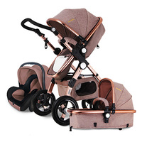 RU Free ship!Gold baby Baby Stroller 3 in 1 with Car Seat For Newborn High View Folding Baby Carriage carrinho de bebe 3 in 1