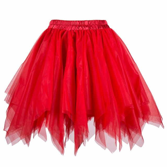 f2c734ca33 Red Multilayer Tulle Ball Gown Gothic Lolita Skirt Women Short Mini Tutu  Skirt Adult Sexy Petticoat Rockabilly Underskirt S-XXL