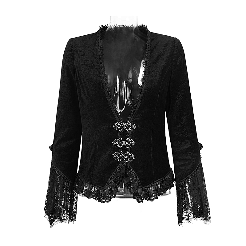 Punk Elastic Short Outwear Coat With Dark Pattern Lace Sleeve Jackets For Women Gothic Spring Coats Jaquetas Femininas 2017