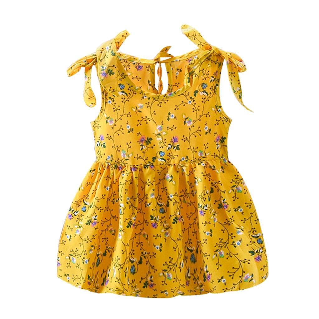 Платье для маленьких девочек; платья принцессы без рукавов с бантом и лентами; Детские Платья с цветочным принтом; Одежда для девочек; Vestidos - Цвет: Yellow