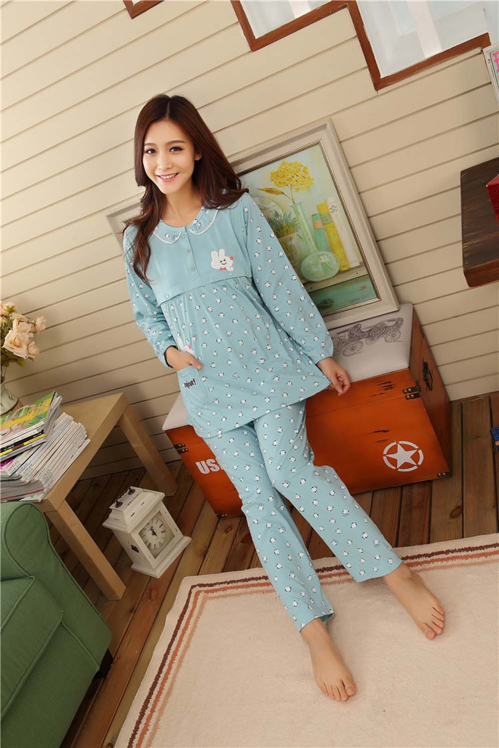 Pregnant-Woman-Pajamas-Postpartum-Breastfeeding-Month-Of-Serving-Lapel-Clothes-Long-sleeve-Sleepwear-Suits-CL0800 (10)