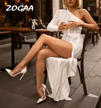 ZOGAA Sexy Women One Shoulder Long Sleeve Dress Evening Party Maxi Slim White women clothes elegant dress