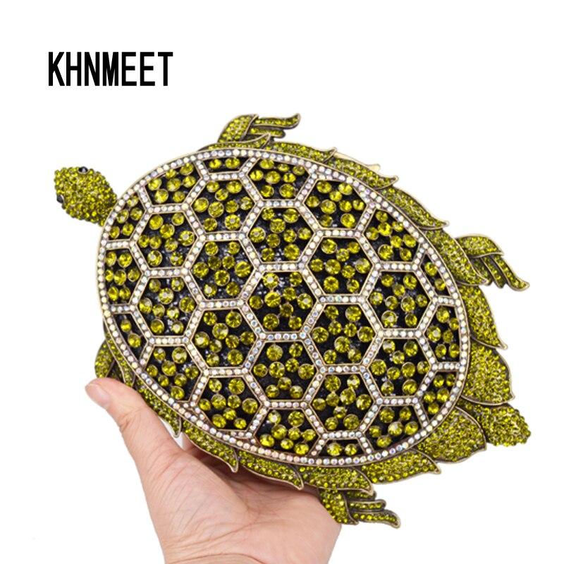 Animal Designer tortoise Luxury rhinestone Clutch Bags Women Party Wedding Bridal Shoulder Bags Ladies Handbags SC786