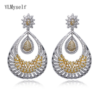 Very Long Drop Earrings Water Drop Shape Top Jewelry 2019 New Female Party Accessories Gold 2 Tone Plated Huge Earring