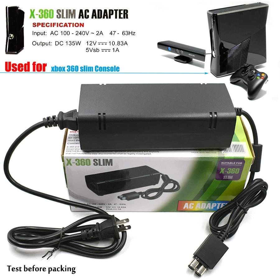 100 ~ 240 V 135 W AC Adaptateur Alimentation pour Xbox 360 S, 360 Mince Chargeur De Charge pour Microsoft xbox 360 XBOX360 S Mince Hôte