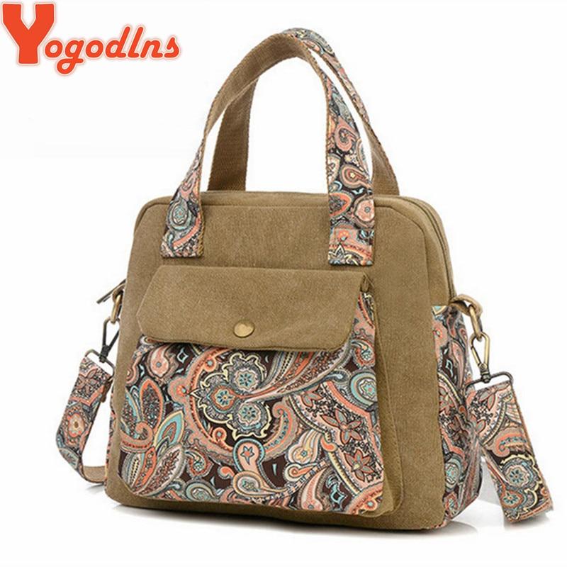 Yogodlns 2017 New Retro women's handbag canvas flower bag women messenger bags f