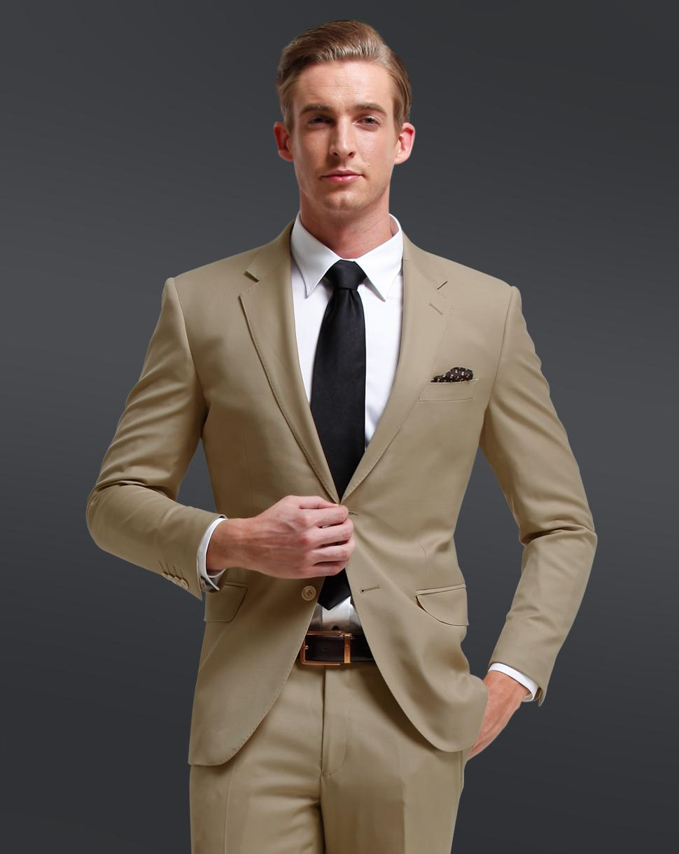 Two Buttons Notch Lapel Khaki High Quality3Pieces Fashion Men Suits Custume Homme Personal Terno Masculino Fashion Slim Handsome