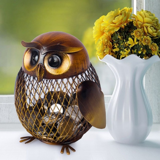 Owl Shaped Metal Coin Box Handmade Iron Coin Box Mesh Modern Design Cute Piggy Bank Useful Interior Decoration Home Decor