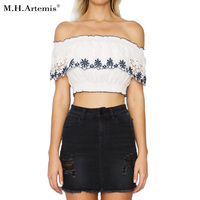 M H Artemis Sexy Off Shoulder Embroidery Ruffle White Crop Top Tees Bustier Chic Summer