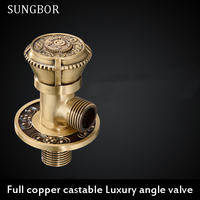 Free Shipping Antique Brass Carved Kitchen Bathroom Accessories Angle Valve For Toilet Sink Basin Water Heater