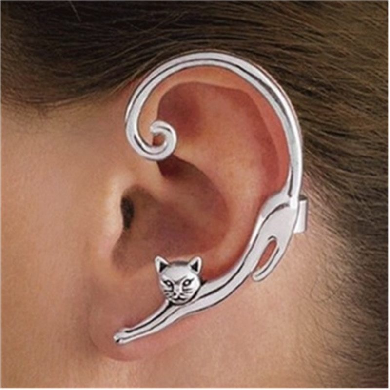 YIREMEI Single punk style gold / silver plated cat earrings rock animal earrings female 2019 ear bag smooth cat ear earrings золотые серьги по уху