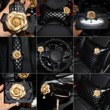 Camellia Flower Car Steering Wheel Cover Leather Fashion Car Neck Waist Pillow Universal Car Styling Headrest