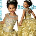 2016 Flower Girl Dresses Scoop Cystals Pleat Ball Gown Floor-Length Girls Pageant Dresses First Communion Dresses For Girls