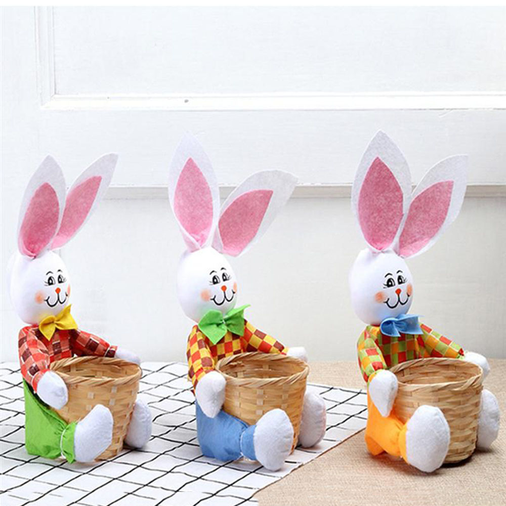 Easter Home Decor Mini Cute Cartoon Rabbit Bunny Easter Basket for Candy Storage Basket Portable Food Storage Bag Party Supplies
