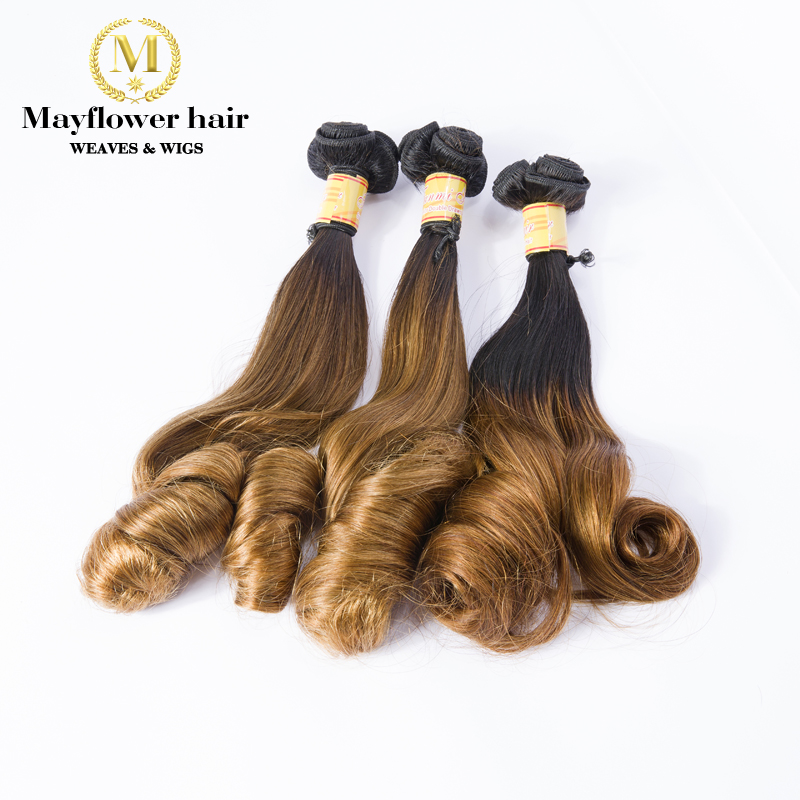 Mayflower One bundle Aunty Funmi hair bouncy magic curl or Egg curl Ombre Color 1B/4 Double drawn weft fumi hair