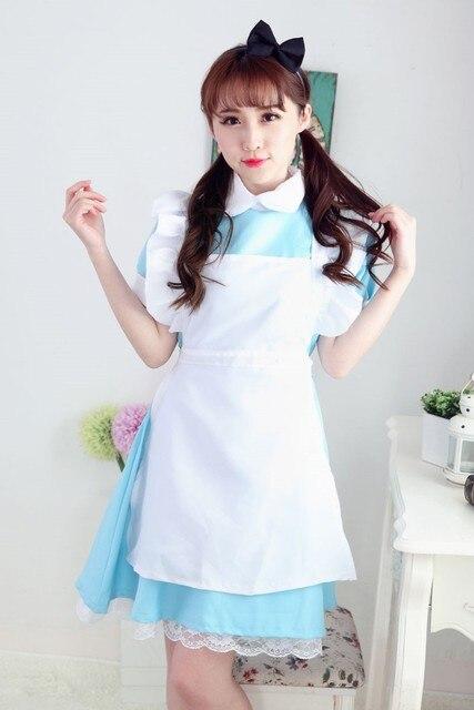 Nueva Alice in wonderland azul tono Ligero lolita maid cosplay Fantasia  vestidos de las mujeres de 03d9f55dc749