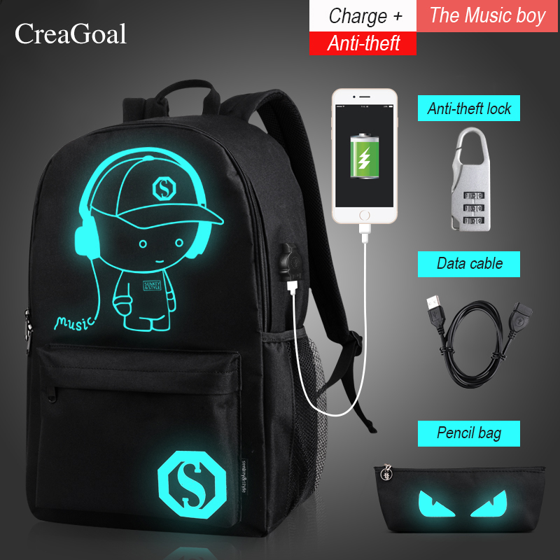 Fashion Anime Luminous Men Women Backpack For Boy Student Daypack Shoulder USB Charging Anti-theft School Bag Laptop Back pack
