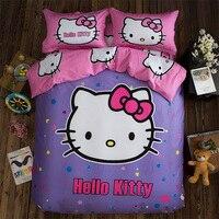 Kızlar Hello Kitty Yatak Seti Kraliçe Kral Doraemon Pamuk Mor leopar Sonbahar Kış Zımpara Sac Yastık Kılıfı Nevresim Set