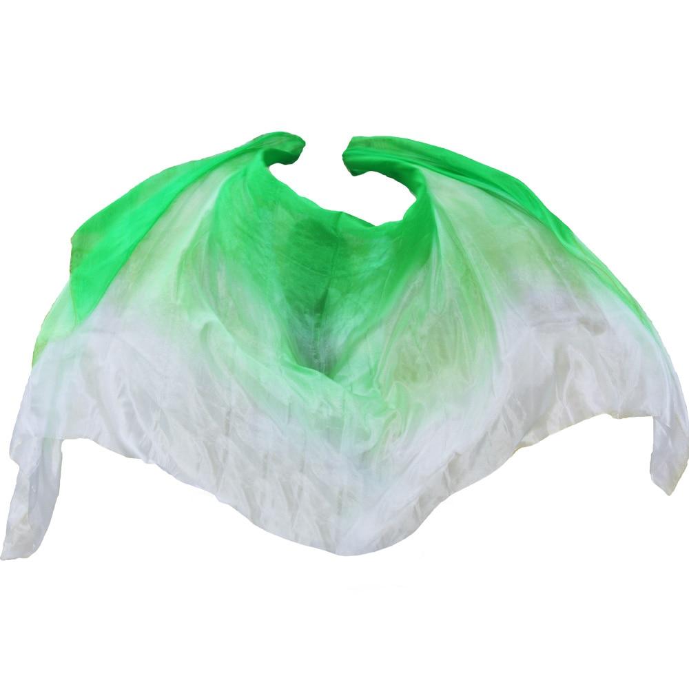 2017 high quality dance veils handmade natural silk belly dance veil Green+Light green+White colors 2 Size dance accessories