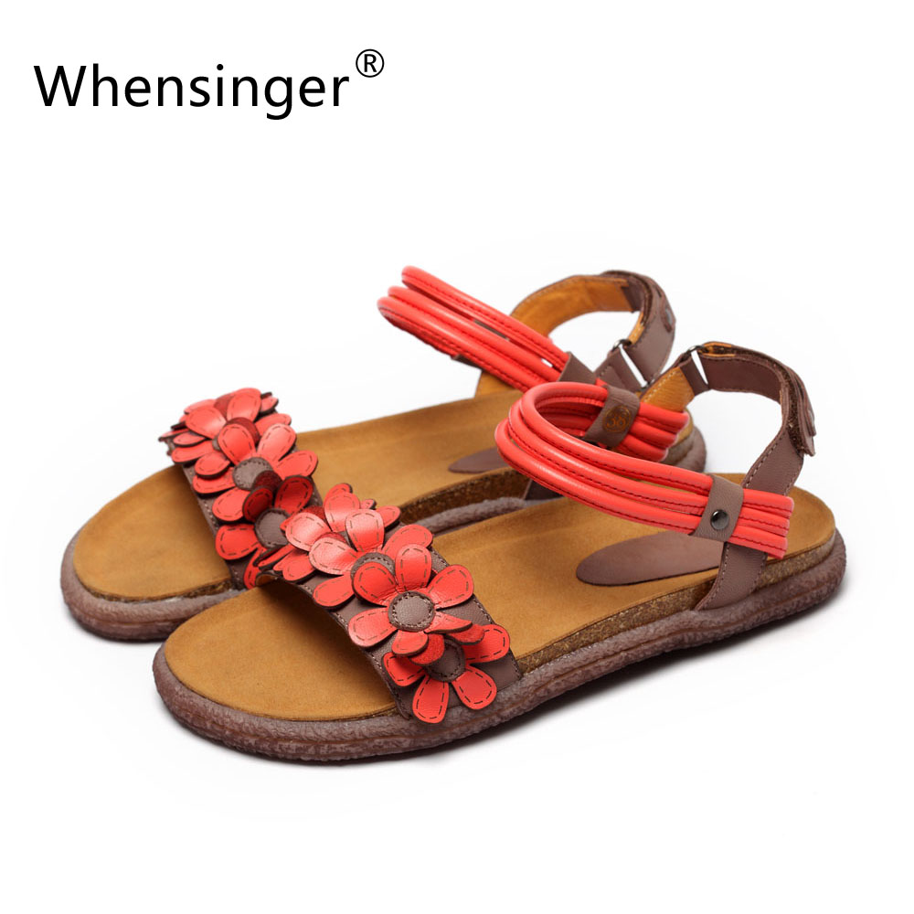 Whensinger 2017 Women Sandals Female Gladiator Genuine Leather Shoes Beach Soft Rome Ethnic Sewing Fashion L1668 whensinger 2017 new women fashion boots genuine leather fashion shoes rubber sole hands sewing 2 color 7126