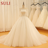 SL 520 Cheap Vintage Boat Neck Illusion Half Sleeve Applique Wedding Dress 2018