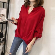 M loose large size bat sleeve shirt new Korean version of the simple wild casual blouse