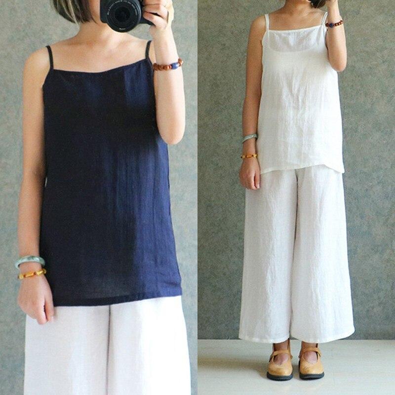 Celmia Plus Size 2018 Summer Top Women Vintage Camis Vest Tops Tees Cotton Linen Vests Spaghetti Strap Comfort Casual Tops