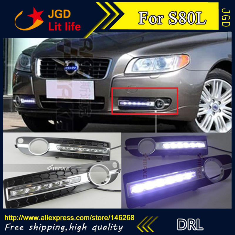 Hot sale ! 12V 6000k LED DRL Daytime running light for Volvo S80 Fog lamp frame Fog light Super White hot sale 12v 6000k led drl daytime running light for toyota corolla 2007 2010 plating fog lamp frame fog light